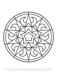 Free Magic Mandalas Colouring Page for Kids by Tigerlynx