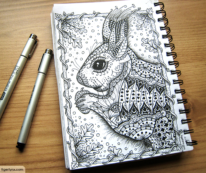 Doodle squirrel ink drawing