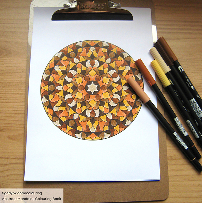 Brown and orange mandala colouring page by Tigerlynx