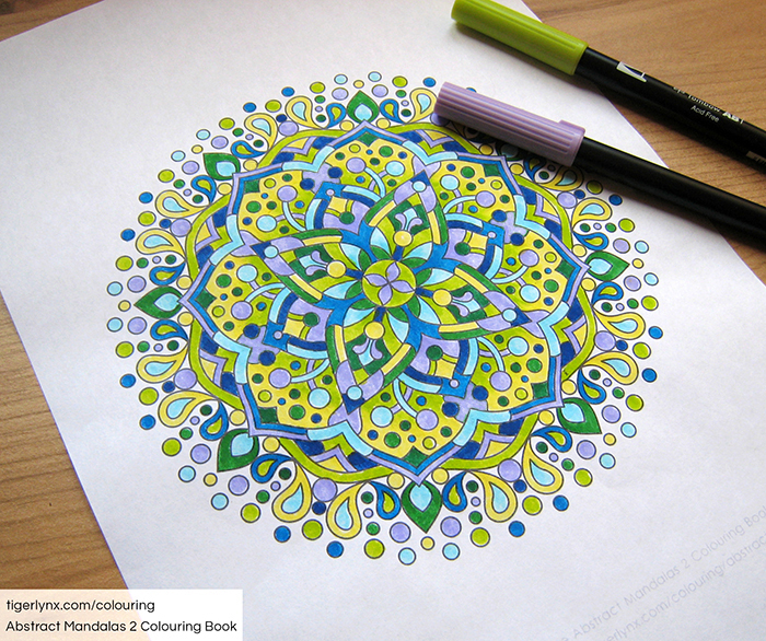 Coloured page with mandala design