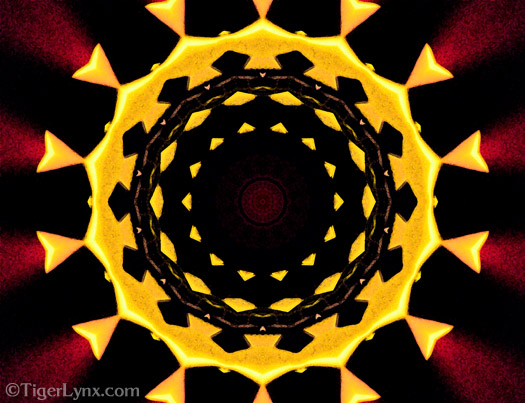 Yellow & Burgundy Kaleidoscope Mandala Art