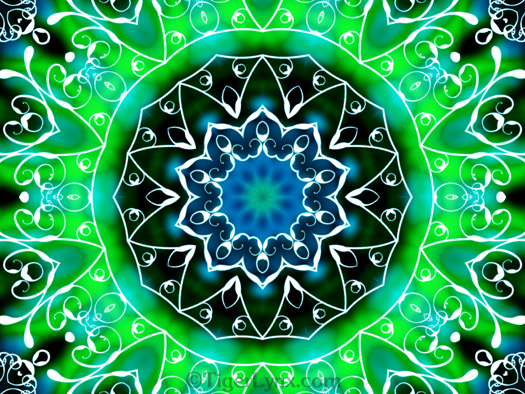 Green & White Swirls  Kaleidoscope Mandala Art