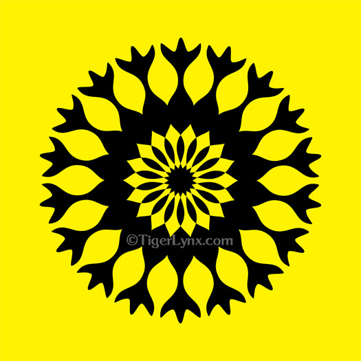 Black & Yellow Kaleidoscope Mandala