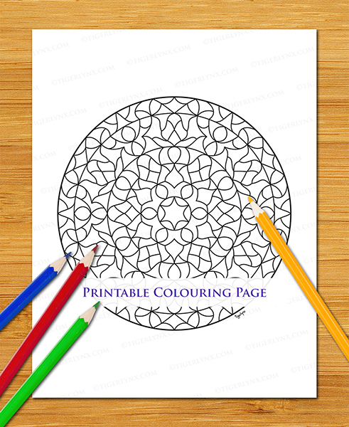 Printable Abstract Mandala Colouring Page
