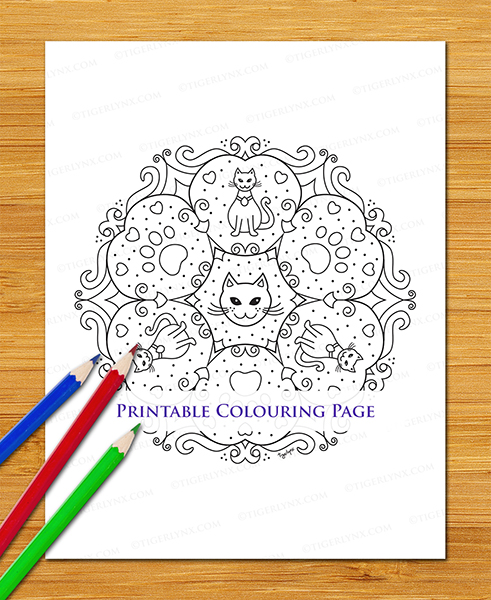 Printable Cartoon Cat Mandala Colouring Page