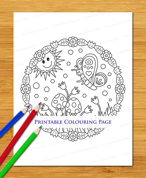 Printable Cartoon Butterfly Colouring Page