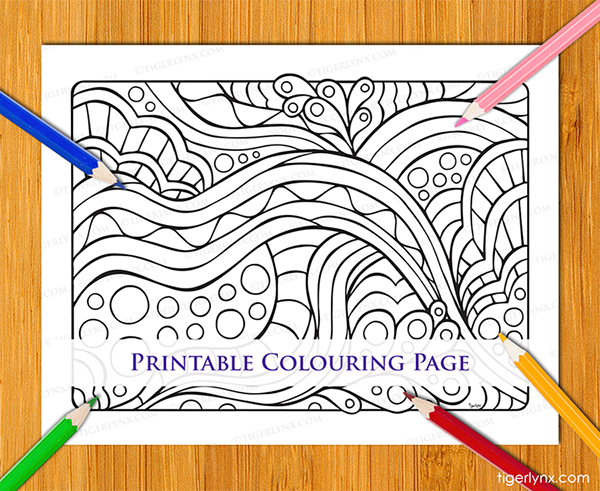 Easy abstract colouring page download
