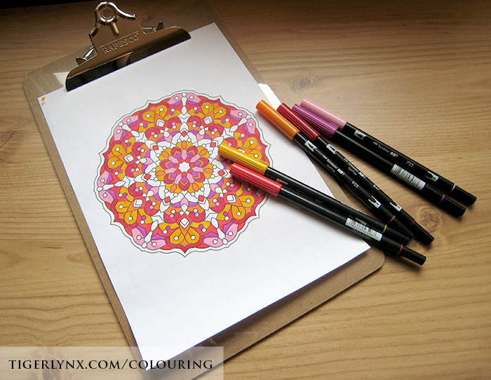 Coloured page from the Abstract Mandalas Colouring Book by Tigerlynx