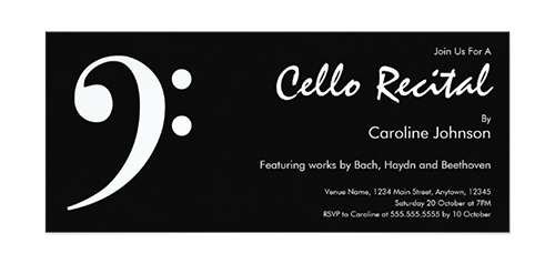 Modern Black White Music Cello Concert Recital Invitation Card