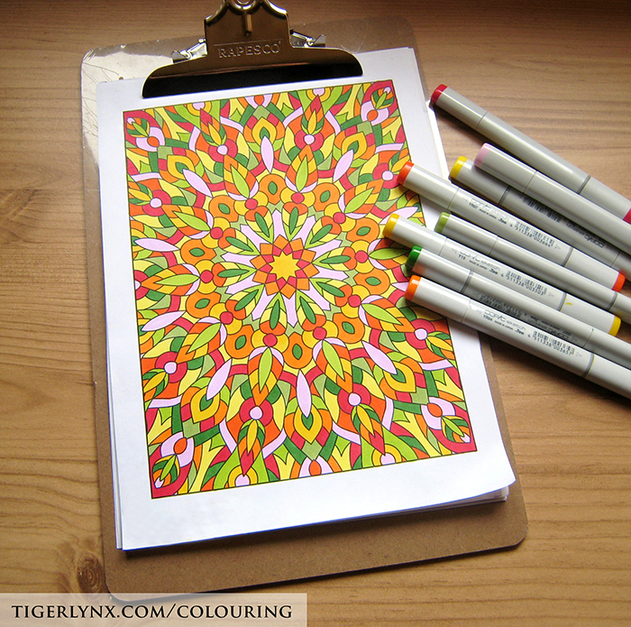 Kaleidoscope colouring page by Tigerlynx