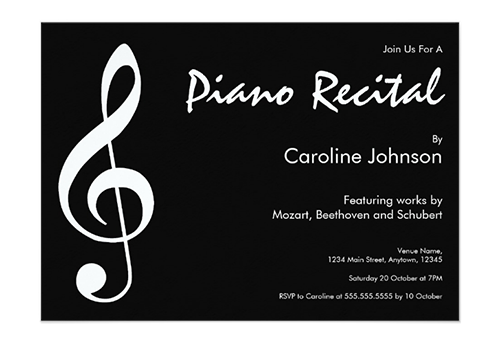Elegant Modern Black Music Piano Concert Recital Invitation Card